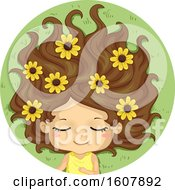 Kid Girl Sleep Flower Field Illustration