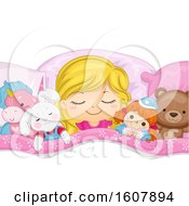 Kid Girl Sleep Stuffed Toys Illustration