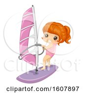 Kid Girl Sports Sailing Illustration