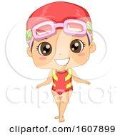 Kid Girl Swimming Suit Illustration
