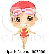 Kid Girl Swimming Suit Illustration