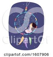 Stickman Kid Girl Dream Catcher Illustration by BNP Design Studio