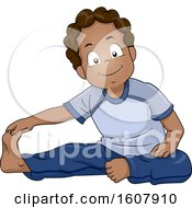 Kid Boy Black Stretching Illustration