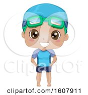 Kid Boy Black Swimming Trunks Illustration