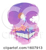 Kid Boy Book Bed Float Dream Illustration
