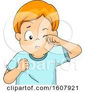 Kid Boy Eye Scratch Illustration