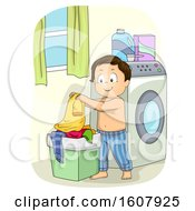 Kid Boy Laundry Basket Illustration