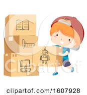 Kid Boy Moving Pack Things Illustration