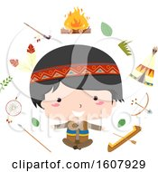Kid Boy Native American Share Culture Illustration