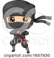 Kid Boy Ninja Costume Illustration