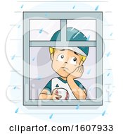 Kid Boy Raining Cant Play Baseball Illustration