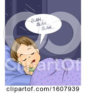 Kid Boy Sleep Talking Illustration