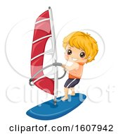 Kid Boy Sports Wind Surfing Illustration