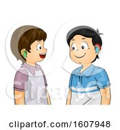 Kids Boys Hearing Aid Talk Illustration