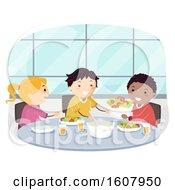 Poster, Art Print Of Stickman Kids Ask Pass Food Politely Illustration