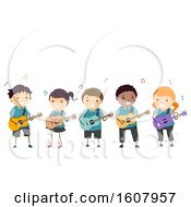 Stickman Kids Guitar Instrument Illustration