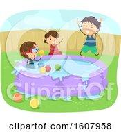 Stickman Kids Inflatable Pool Illustration