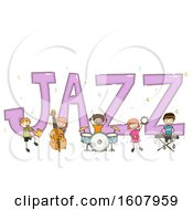 Stickman Kids Jazz Text Design Illustration