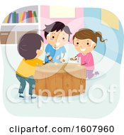 Stickman Kids Nail Hammering Illustration