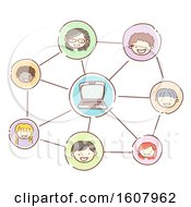 Stickman Kids Online Discussion Illustration