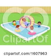Poster, Art Print Of Stickman Kids Inflatable Roller Wheel Illustration
