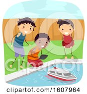 Stickman Kids Pool Boat Illustration