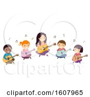 Stickman Kids Teacher Guitar Lesson Illustration