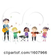 Stickman Kids Teacher Music Instruments