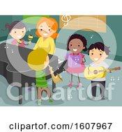 Stickman Kids Teacher Music Instruments Room