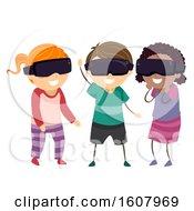 Stickman Kids Virtual Reality Glasses Illustration