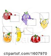 Mascot Fruits Board Illustration