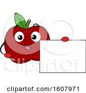 Red Apple Mascot Holding A Blank Sign Clipart