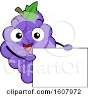 Grapes Mascot Holding A Blank Sign Clipart