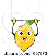 Lemon Mascot Holding A Blank Sign Clipart