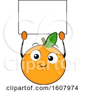 Orange Mascot Holding A Blank Sign Clipart