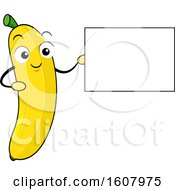 Banana Mascot Holding A Blank Sign Clipart