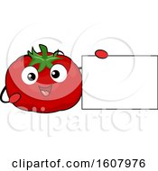 Tomato Mascot Holding A Blank Sign Clipart