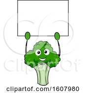 Broccoli Vegetable Mascot Holding A Blank Sign Clipart