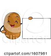 Potato Vegetable Mascot Holding A Blank Sign Clipart