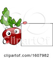 Beet Vegetable Mascot Holding A Blank Sign Clipart