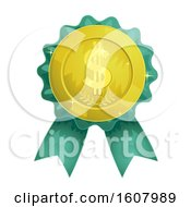Gold Coin Dollar Ribbon Award Illustration
