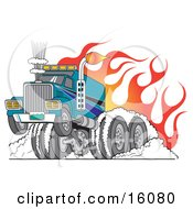 Poster, Art Print Of Tough Big Rig Hot Rod Truck Flaming And Smoking Its Rear Tires Doing A Burnout In Flames And A Wheelie
