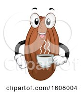 Mascot Cacao Bean Hot Choco Drink Illustration