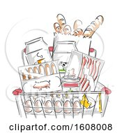 Grocery Cart Foods Illustration