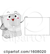 Newspaper Recycle Mascot Holding A Blank Sign Clipart