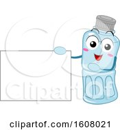 Plastic Recycle Mascot Holding A Blank Sign Clipart
