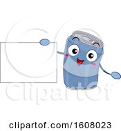 Aluminum Can Recycle Mascot Holding A Blank Sign Clipart