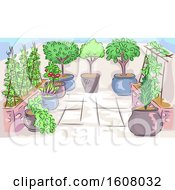 Home Garden Scene Illustration