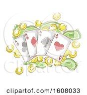 Money Card Gamble Illustration