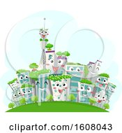 Mascot Eco Buildings City Illustration